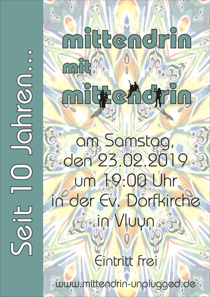 Plakat Mittendrin Jubiläumskonzert 2019
